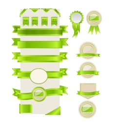 Green ribbons and labels vector image