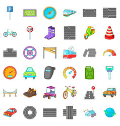 Hard traffic icons set cartoon style vector