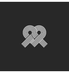 Heart logo monogram shape knot wedding invitation vector