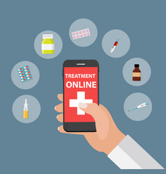 Mobile apps concept of online treatment and health vector
