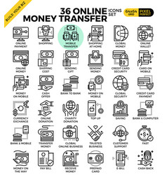 online money transfer payment icons vector image vector image