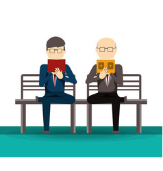 People reading book and newspaper vector