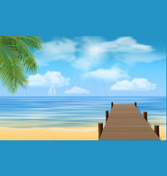 sea beach and wooden jetty vector image