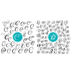 set of hand drawn calligraphy letters c and vector image vector image