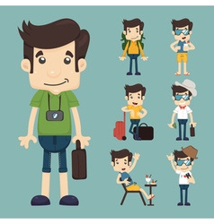 set of traveler people eps10 format vector image vector image