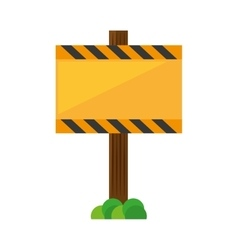 Sign road rectangle caution yellow empty with vector