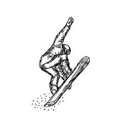 snowboarder in flight sketch hand vector image vector image