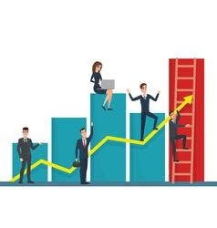 team of businessman on arrow graph Team leader has vector image