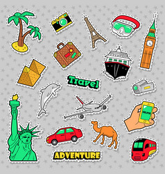 travel and vacations badges patches and stickers vector image vector image