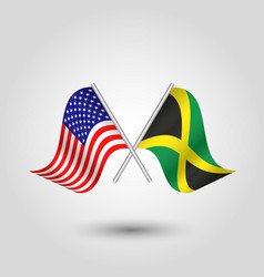 Two crossed american and jamaican flags on silver vector