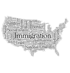 United States immigration word cloud vector image vector image