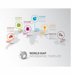 world map with pointer marks and icons vector image vector image