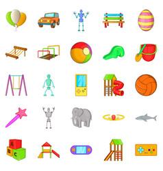 Yard entertainment icons set cartoon style vector