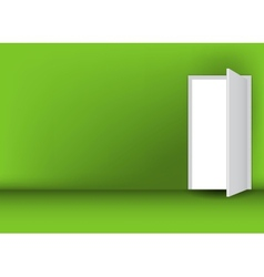 Open white door on a green wall vector image
