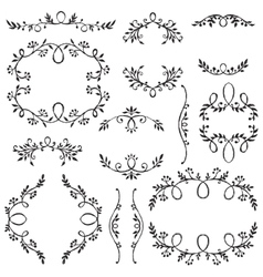 Set of hand drawn frames with vignette branches vector