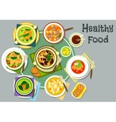 Soup dishes for healthy lunch menu icon vector