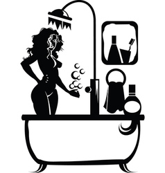 Woman in a bath vector
