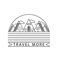 mountain and nature landscape logo with text vector image