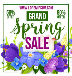 Spring sale discount flower poster template vector
