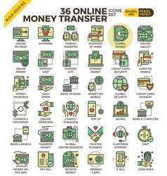 Online money transfer payment icons vector