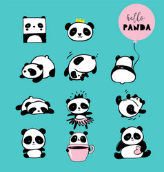 Cute panda hand drawn elements vector