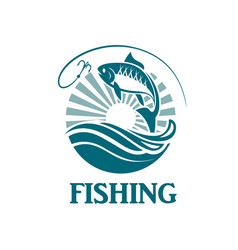 fishing emblem with waves vector image