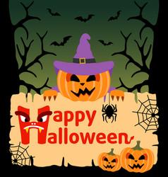 Halloween background card with pumpkin vector
