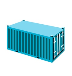 A light blue container cargo container on white ba vector