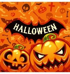 Halloween pumpkins card with bat silhouette vector