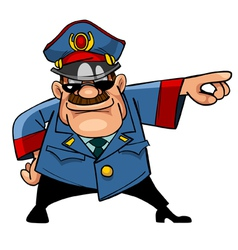Cartoon character menacing police indicates hand vector
