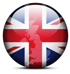 Map on flag button - united kingdom of great vector
