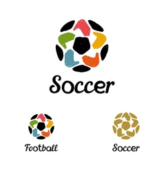 Hand drawn logo with a soccer ball with hands like vector