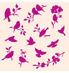 Set of decorative bird and twig silhouettes vector