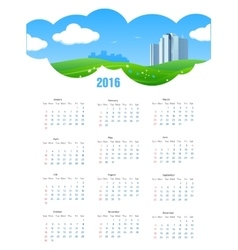Summer theme 2016 calendar vector