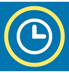 Clock flat yellow and white colors rounded vector