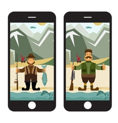 Concept flat design with fisherman and hunter in vector