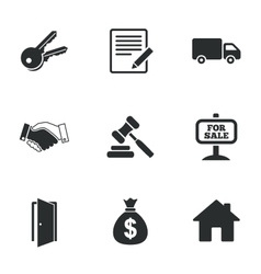 Real estate auction icons handshake for sale vector