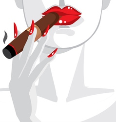 Sexy woman smoking a cigar vector