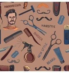Hand drawn retro barbershop seamless pattern vector