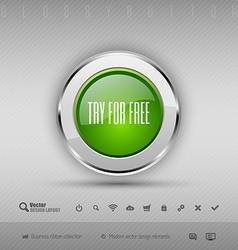 Design elements green and chrome glossy button vector