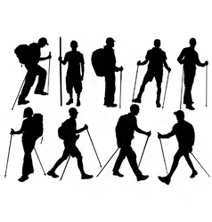 Hiker silhouettes vector