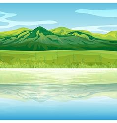 A mountain across the lake vector image