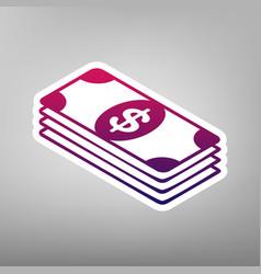 Bank note dollar sign purple gradient vector