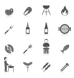 Bbq grill icon black vector