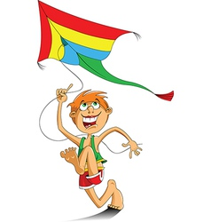 Boy and a kite vector image vector image