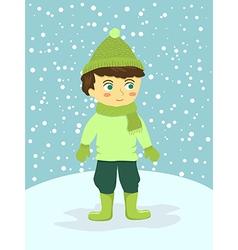 Boy Wear Green Winter Suit vector image