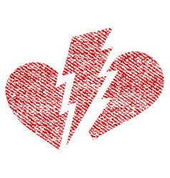 Broken heart fabric textured icon vector