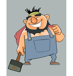 Cartoon cheerful man in overalls with a hammer in vector