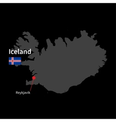 Detailed map of Iceland and capital city Reykjavik vector image