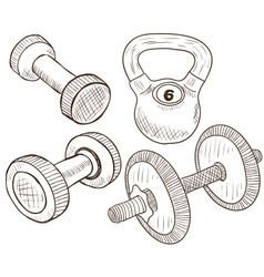 Dumbbells doodles vector
